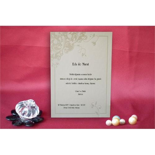 Sade Çiçekli Düğün Davetiye 100 Adet Zarflı