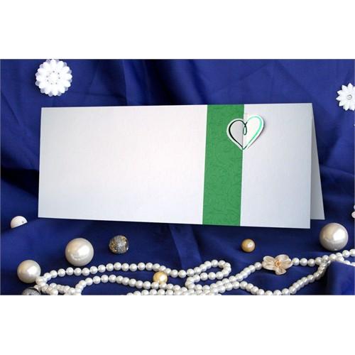 Kalp Yeşil Düğün Davetiye 100 Adet Zarflı