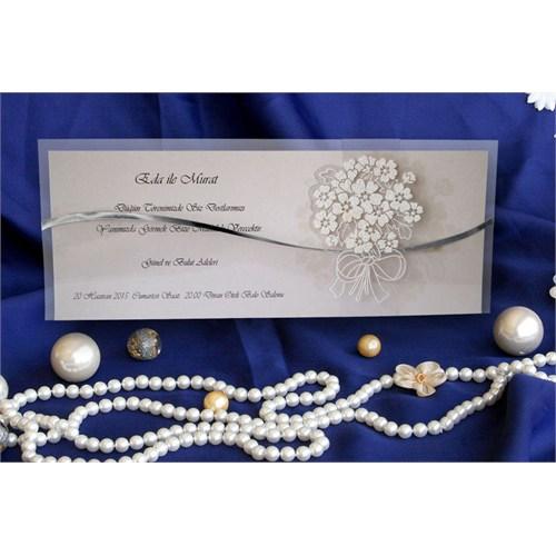 Çiçek Buketi Düğün Davetiye 100 Adet Zarflı