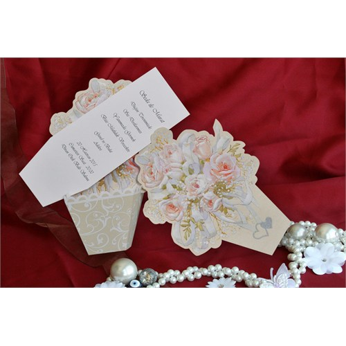 Çiçekli Düğün Davetiye 100 Adet Zarflı