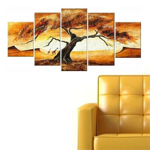 Tictac Ağaçlar 5 Parça Kanvas Tablo