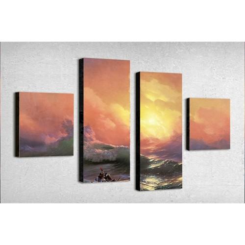 Tictac 4 Parça Kanvas Tablo - Okyanusta Fırtına