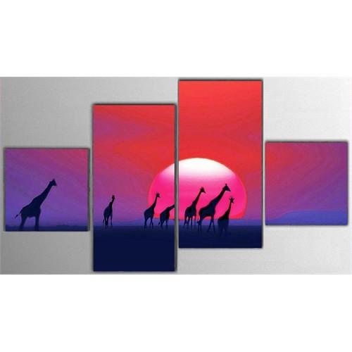 Tictac 4 Parça Kanvas Tablo - Zürafalar