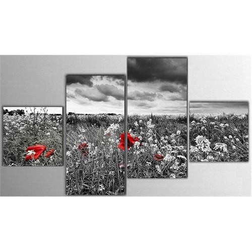 Tictac 4 Parça Kanvas Tablo - Kırmızı Çiçekler