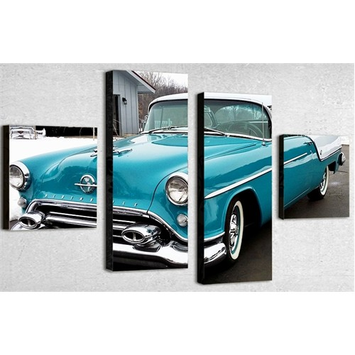 Tictac 4 Parça Kanvas Tablo - Mavi Oldsmobile
