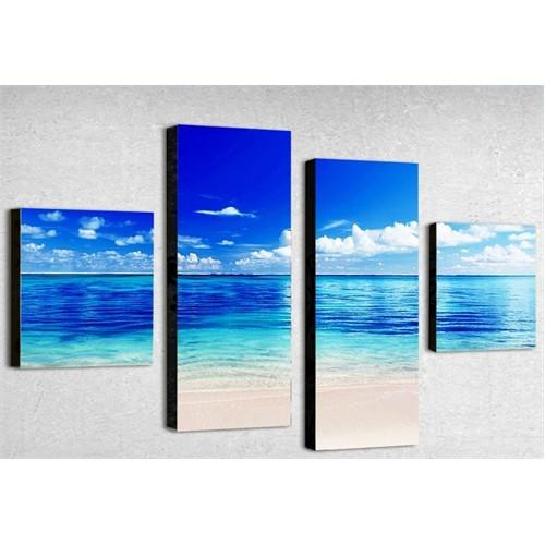 Tictac 4 Parça Kanvas Tablo - Mavi Deniz