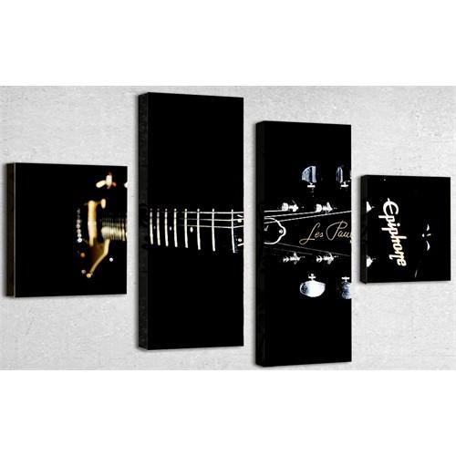 Tictac 4 Parça Kanvas Tablo - Siyah Gitar