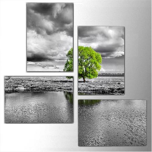 Tictac 4 Parça Kanvas Tablo - Yeşil Ve Yalnız Ağaç