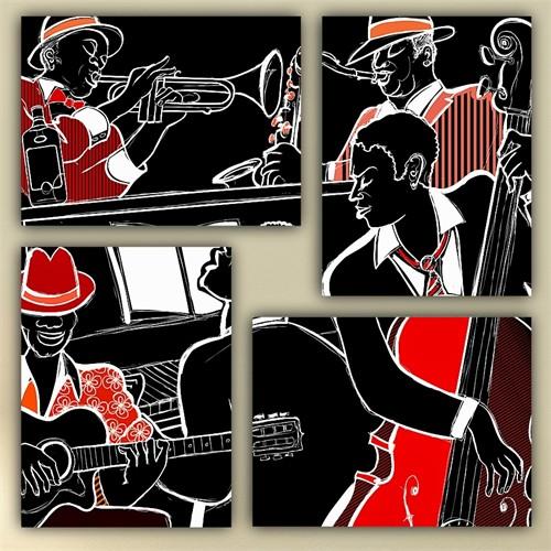 Tictac 4 Parça Kanvas Tablo - Jazz