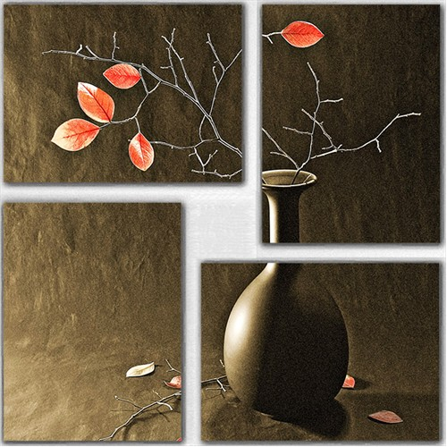 Tictac 4 Parça Kanvas Tablo - Vazodaki Çiçekler