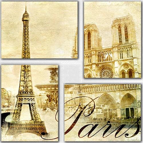 Tictac 4 Parça Kanvas Tablo - Paris