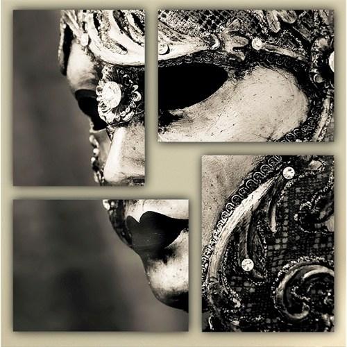Tictac 4 Parça Kanvas Tablo - Maske