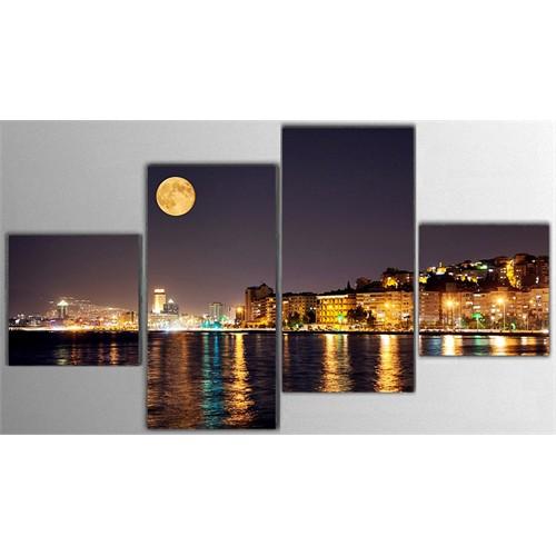 Tictac 4 Parça Kanvas Tablo - İzmir Dolunay