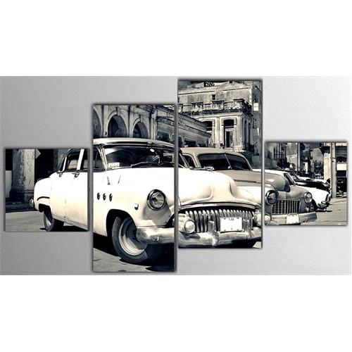Tictac 4 Parça Kanvas Tablo - Eski Arabalar