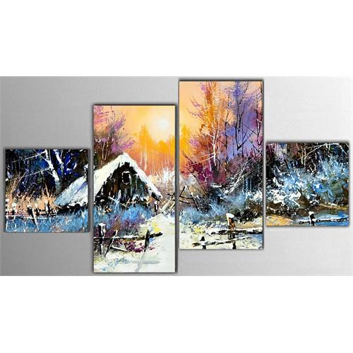 Tictac 4 Parça Kanvas Tablo - Karlı Manzara