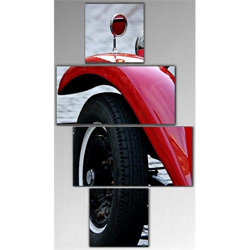 Tictac 4 Parça Kanvas Tablo - Kırmızı Araba