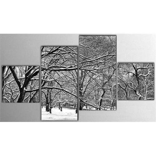 Tictac 4 Parça Kanvas Tablo - Karlı Orman