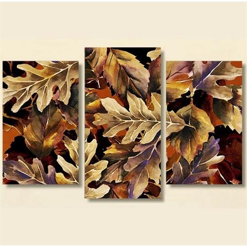 Tictac 3 Parça Kanvas Tablo - Meşe Yaprakları