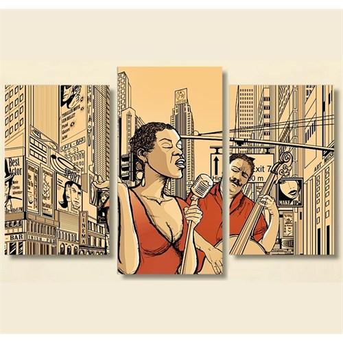 Tictac 3 Parça Kanvas Tablo - Sokakta Jazz