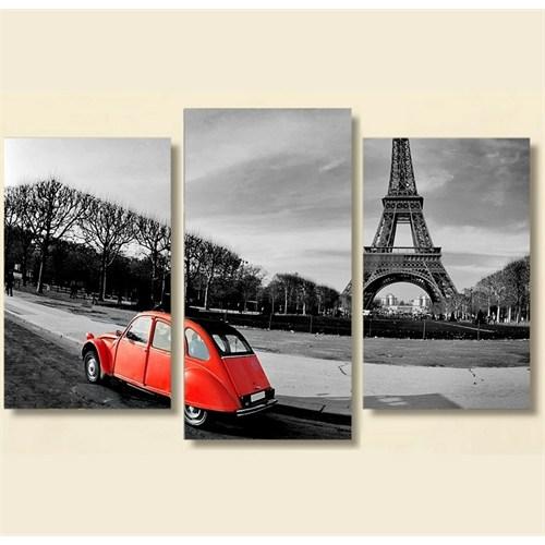 Tictac 3 Parça Kanvas Tablo - Eyfel Ve Kırmızı Araba 3