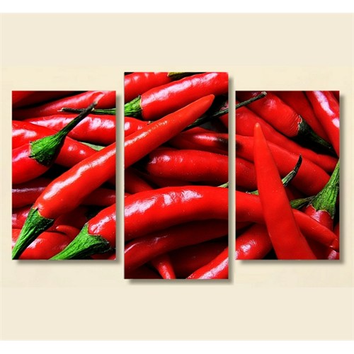 Tictac 3 Parça Kanvas Tablo - Kırmızı Biberler