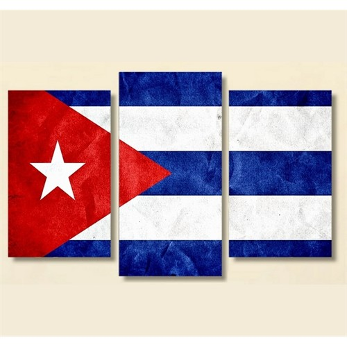 Tictac 3 Parça Kanvas Tablo - Küba Bayrak
