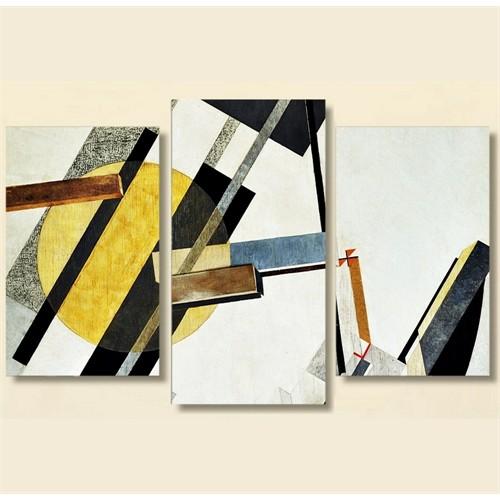 Tictac 3 Parça Kanvas Tablo - Soyut - Sarı