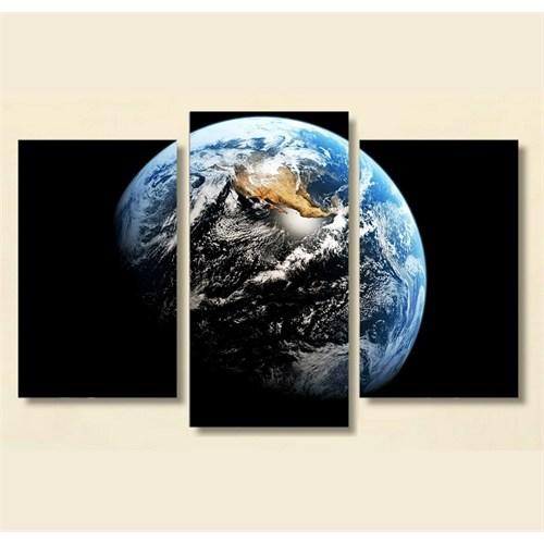 Tictac 3 Parça Kanvas Tablo - Mavi Dünya