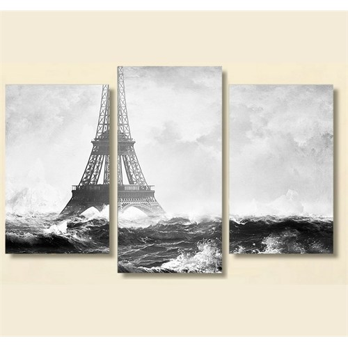 Tictac 3 Parça Kanvas Tablo - Okyanustaki Eyfel