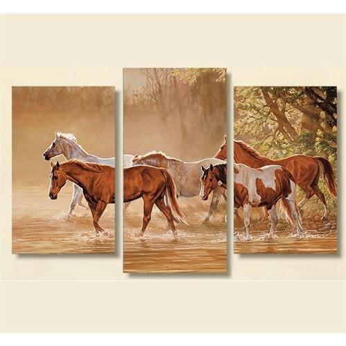 Tictac 3 Parça Kanvas Tablo - Nehirdeki Atlar