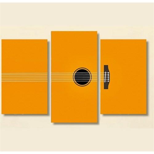 Tictac 3 Parça Kanvas Tablo - Sarı Gitar
