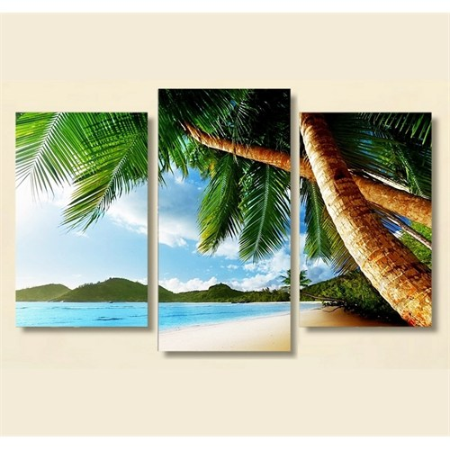 Tictac 3 Parça Kanvas Tablo - Sahil Ve Ağaçlar