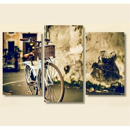 Tictac 3 Parça Kanvas Tablo - Mavi Bisiklet