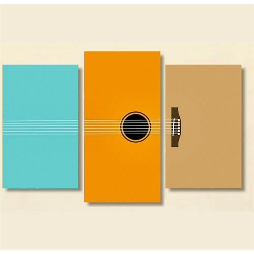 Tictac 3 Parça Kanvas Tablo - Renkli Gitar