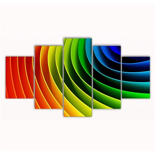 Tictac Renkler 5 Parça Kanvas Tablo - 125X75 Cm