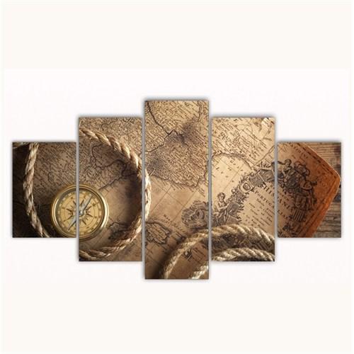 Tictac 5 Parça Kanvas Tablo - Eski Harita - 100X60 Cm