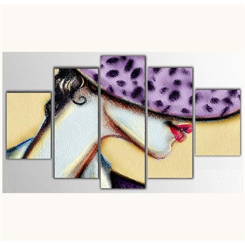 Tictac 5 Parça Kanvas Tablo - Mor Şapkalı Kadın - 100X60 Cm