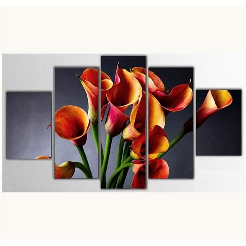 Tictac 5 Parça Kanvas Tablo - Çiçekler - 100X60 Cm