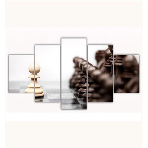 Tictac 5 Parça Kanvas Tablo - Yalnız Piyon - 100X60 Cm