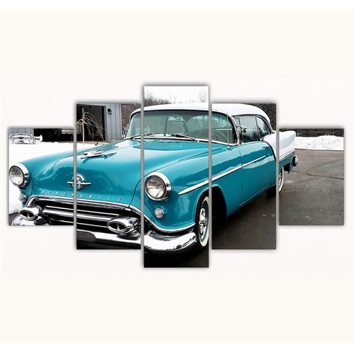Tictac 5 Parça Kanvas Tablo - Mavi Araba - 100X60 Cm