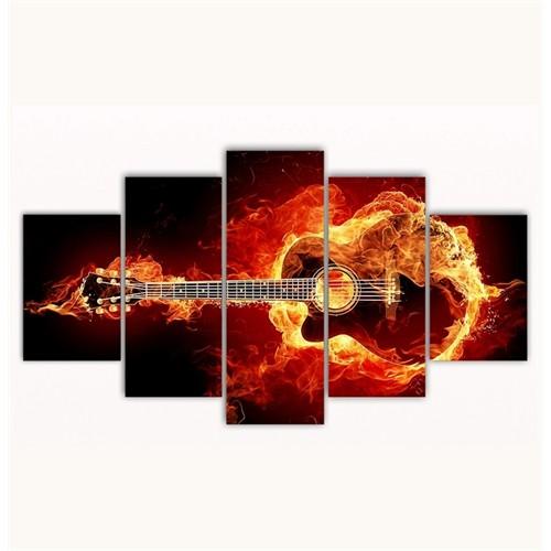 Tictac 5 Parça Kanvas Tablo - Yanan Gitar - 100X60 Cm
