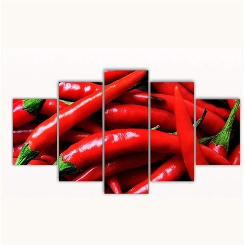 Tictac 5 Parça Kanvas Tablo - Kırmızı Biberler - 100X60 Cm