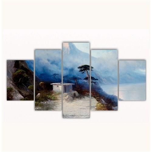 Tictac 5 Parça Kanvas Tablo - Yamaçtaki Ev - 100X60 Cm