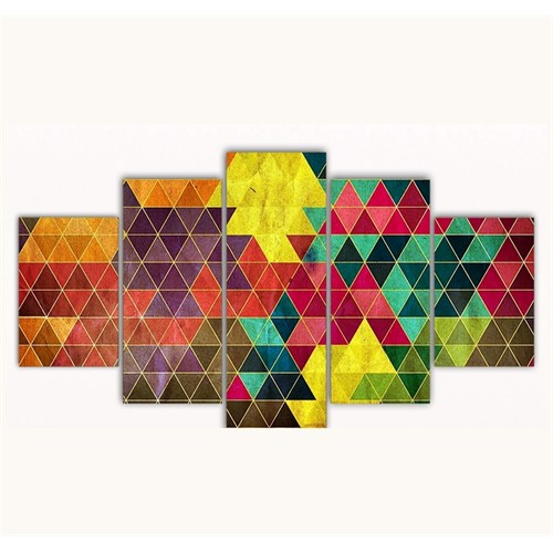 Tictac 5 Parça Kanvas Tablo - Üçgenler - 125X75 Cm