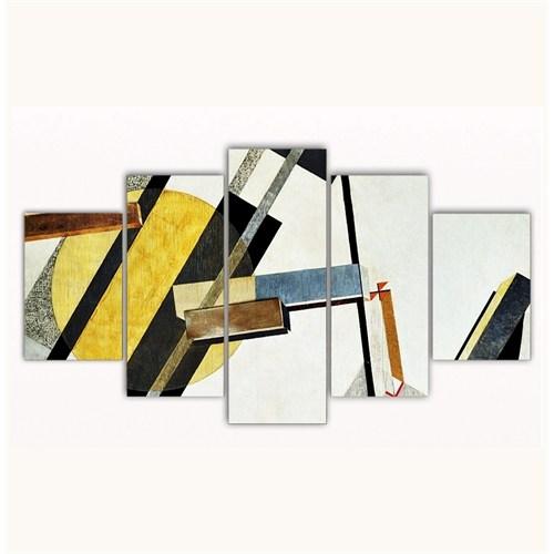 Tictac 5 Parça Kanvas Tablo - Soyut Sarı - 100X60 Cm