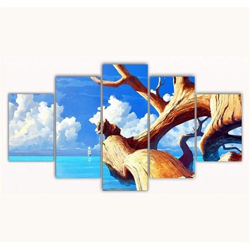 Tictac 5 Parça Kanvas Tablo - Ağaç Ve Deniz - 125X75 Cm