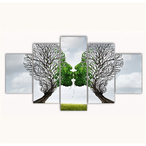 Tictac 5 Parça Kanvas Tablo - Öpüşen Ağaçlar - 100X60 Cm