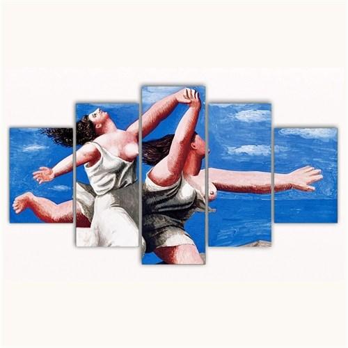 Tictac 5 Parça Kanvas Tablo - Picasso Koşan Kadınlar - 100X60 Cm