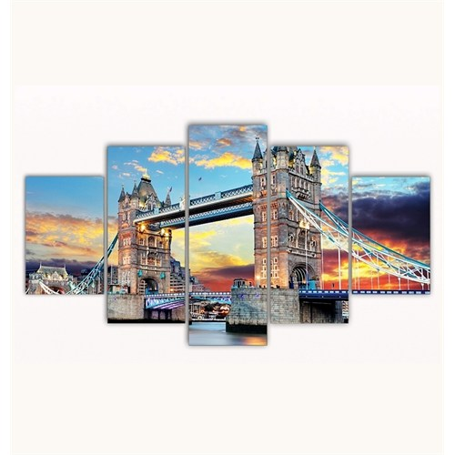 Tictac 5 Parça Kanvas Tablo - Londra - 100X60 Cm