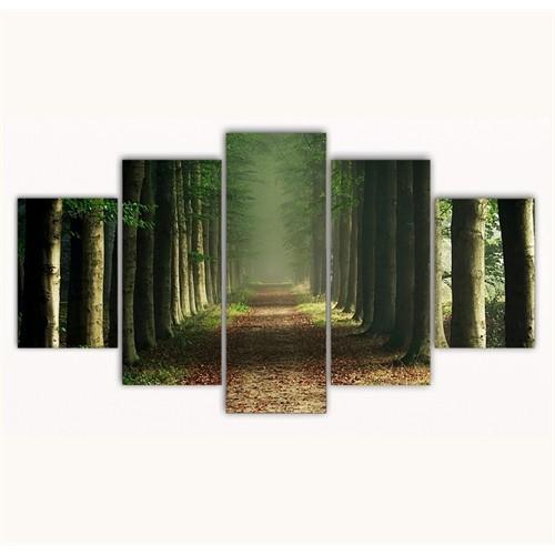 Tictac 5 Parça Kanvas Tablo - Ağaçlı Yollar - 125X75 Cm